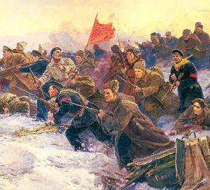 В.Дмитриевский, И.Евстегнеев, Г.Прокопинский. Рождение Красной Армии (фрагмент картины)