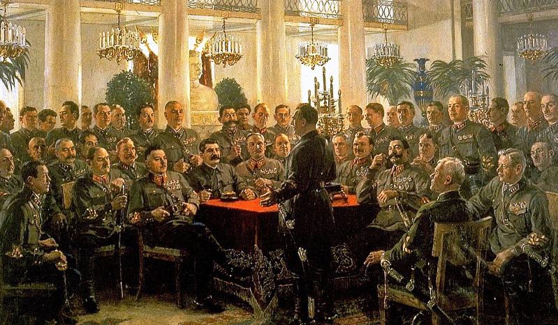 А.М. Герасимов — И.В. Сталин среди красных командиров