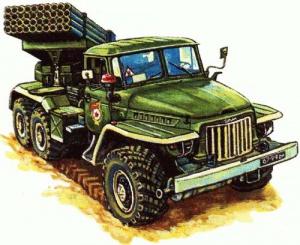 БМ-21 «Град». Иллюстрация к книге: Исмагилов Р.. Артиллерия и минометы XX века