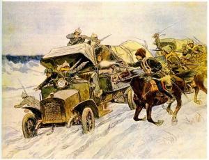 И.Владимиров «Захват германских автомобилей» 1915 год