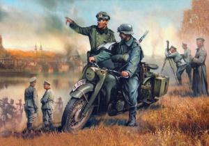 Хивренко Иван. У окраины города: немецкий мотоцикл БМВ Р-12.