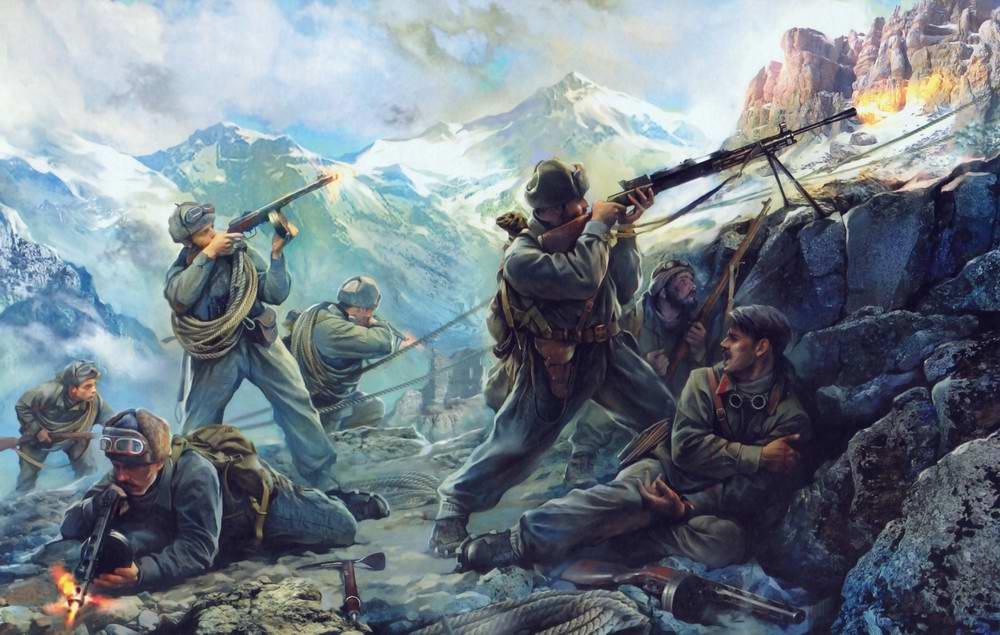 Хивренко Иван. Бой в горных отрогах Северного Кавказа.