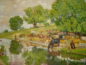 Полдень у пруда. 1920 год, акварель, 50,8х68,5. Климентов Михаил Иванович (1889-1969)