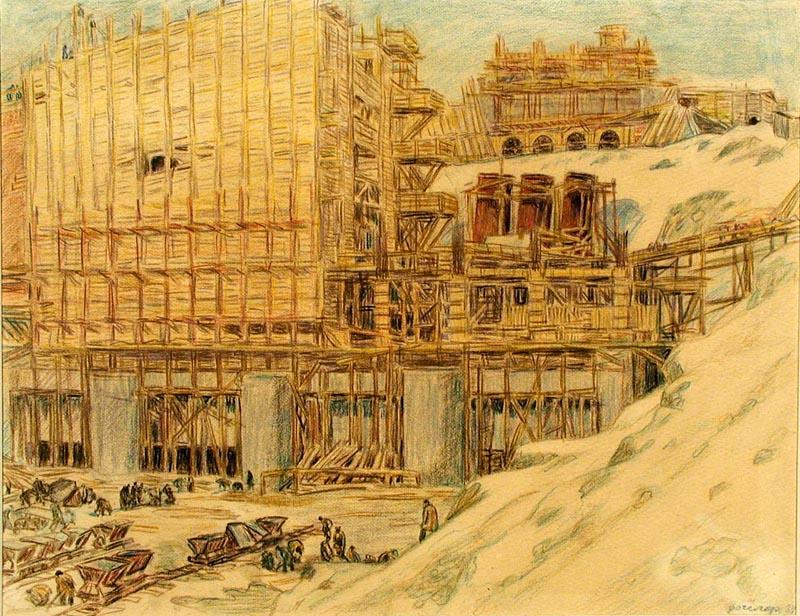 """Фогелер Г. """"Нивастрой"""". 1934 Бумага. Карандаш цветной. 23,8 x 30,9 см."""