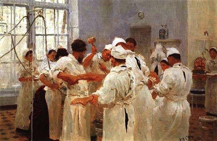 Илья Репин Хирург Е.В.Павлов в операционном зале 1888 г.