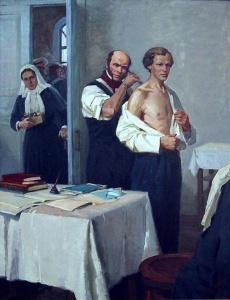 И.Тихий Н.И. Пирогов осматривает больного Д.И.Менделеева