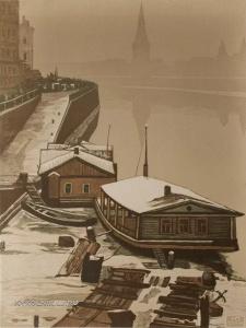 Павлов Иван Николаевич (1872-1951) «Грибной Рынок» из серии «Старая Москва» 1947