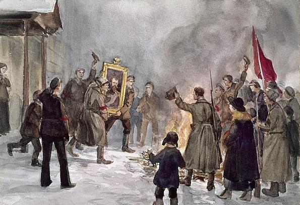 1917 Владимиров Иван Алексеевич (1869-1947) «Сожжение орлов и царских портретов 5 марта 1917»
