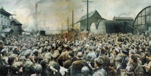 1929 Бродский Исаак Израилевич (1884–1939) «Выступление В.И.Ленина на митинге рабочих Путиловского завода в мае 1917 года»