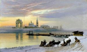 Добровольский Николай (1837-1900). Переправа через Ангару в Иркутске. 1886. Холст, масло, 70х1