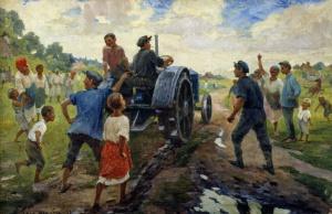 Первый трактор на селе. 1937.Шульга Илья Максимович (1878 - 1938). Запорожский художественный музей
