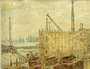 """Фогелер Г. """"Строительство Нива-ГЭС """". 1933 -1934 гг. Бумага. Карандаш цветной. 24,2 x 30,6 см."""