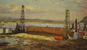 Строительство Куйбышевской ГЭС.