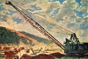 Володин Михаил Филиппович (1912-1987). Шагающий экскаватор (на строительстве Куйбышевской ГЭС)