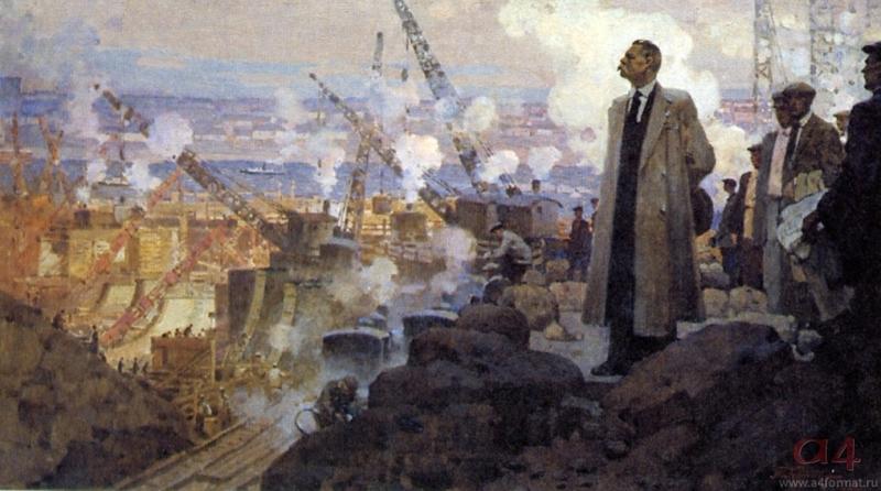 М. Горький на Днепрогэсе. Художник П. Котов. 1951