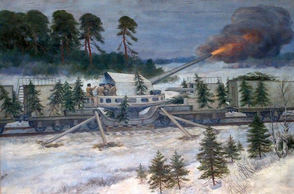 Владимиров Иван. Морская железнодорожная батарея в обороне Ленинграда. 1943 г.