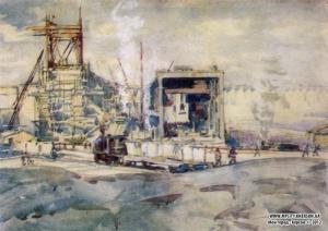 ГЭС и перспектива плотины. Из серии «Днепрострой». 1931 Бумага, карандаш, акварель. Шовкуненко Алексей.