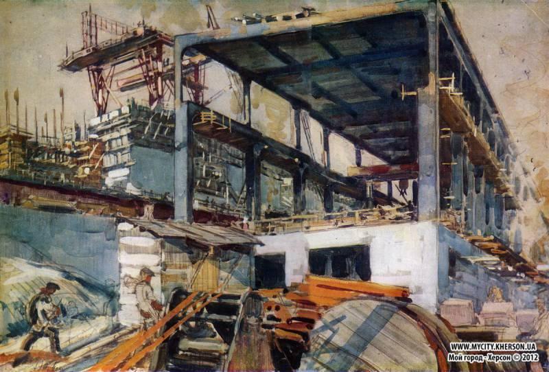 Сооружение гидроэлектростанции. Из серии «Днепрострой». 1931 Бумага на картоне, акварель. 44X63,2