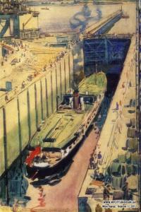 Пароход проходит шлюз. Из серии «Днепрострой». 1933 Бумага, акварель. 61 Х42 Государственная Третьяковская галерея. Москва