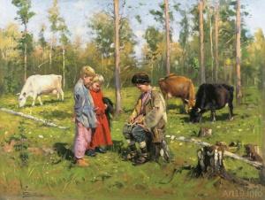 Маковский Владимир Егорович. Пастушки. 1903 год