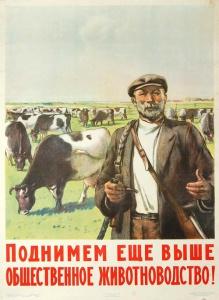 Советский агитационный послевоенный плакат. Поднимем еще выше общественное животноводство!