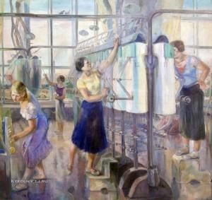 Загоскин Давид Ефимович (1890-1942) «Женский цех завода Севкабель» 1936