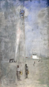 Лабас Александр Аркадьевич (1900-1983) «Электрификация в новом районе» 1930-е