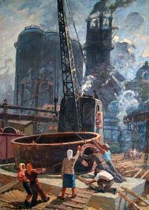 Волошин М.П. :: Восстановление ДнепроГЭС :: 1947 год, 128х93, холст, масло