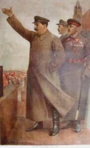 Советский плакат. И. В. Сталин, К. Е. Ворошилов и Л. М. Каганович на Красной площади (1939 год)