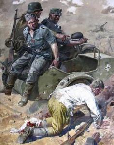 Сафронов Виктор. Раненый красноармеец и немецкий патруль.
