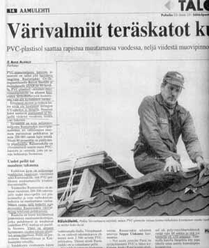 Рис. 3. Страничка из финской газеты «AAMULEHTI» (от 08. 10. 98) со статьей «Крыши из металлической черепицы откалываются»