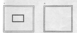 Рис. 3. Планы основных конструктивных систем жилых зданий: а - каркасная; б - бескаркасная; в - объемно-блочная (столбчатая); г - ствольная; д - оболочковая.