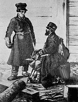 Рис. 5. Крестьянин-отходник (плотник). С картины художника Маковского В.Е. 2-я половина 19-го века