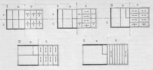 Рис. 6. Конструктивные схемы бескаркасных зданий: I - перекрестно-стеновая; II и III - поперечно-стеновые; IV и V — продольно-стеновые; А — варианты с ненесущими или самонесущими продольными наружными стенами; Б — то же, с несущими; а — план стен; б — план перекрытий.
