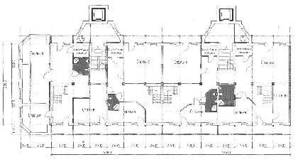 Рис. 6. Планировка двух секций жилого дома серии 1-447, согласно требованиям отечественного нормативного пространства - с устройством лифтов и мусоропроводов, с устройством квартир в двух уровнях и созданием торцевого пристроя с целью усиления сооружения.