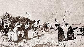 Рис. 7. Молотьба. Рисунок Дмитриева-Оренбургского Н. 2-я половина 19-го века