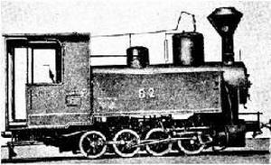 Рис. 7. Паровоз системы Б 2, выпускавшийся в России на основе паровоза Д. Стефенсона