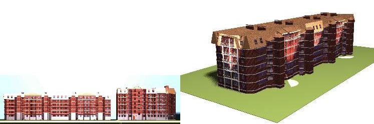 Рис. 8. Внешний вид, который приобрел бы жилой дом в г. Лыткарино после реконструкционных мероприятий по требованию отечественного нормативного пространства.