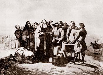 Рис. 8 Освящение семян (перед работами в поле). Рисунок Плахова Н. 2-я половина 19-го века