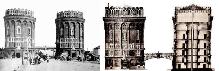 Рис. 8. Крестовские водонапорные башни Мытищинского вопровода. В верхних ярусах находились резервуары, а на пяти нижних этажах - жилые и служебные помещения.
