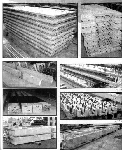 Рис. 9. Колонны, панели и ригели для сборно-монолитного домостроения на домостроительном комбинате.
