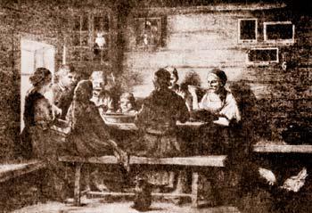 Рис. 9. Крестьянская семья за столом. Русский лубок 2-й половины 19-го века