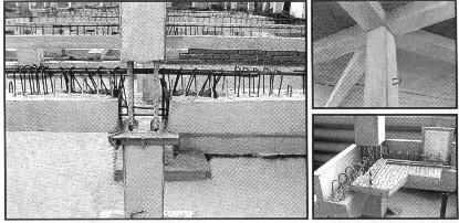 Рис. 10. Узловые сопряжения сборно-монолитных несущих конструкций, подготовленных к омоноличиванию.