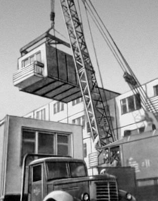 Рис. 12. Строительство дома из объемных железобетонных блоков. 1962 г.
