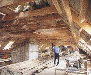 Рис. 13. Деревянная двухэтажная изба на крыше индустриального сооружения