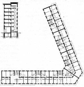 Рис. 20. Разрез и планировки жилого дома на Можайском шоссе в Москве.