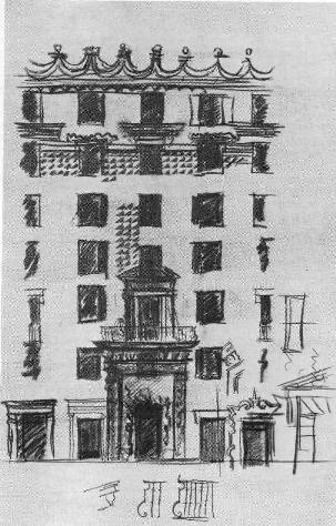 Рис. 24. Крупноблочный дам на Б. Полянке, 3 Архитекторы А.К. Буров и Б. Н. Блохин. 1940. Фрагмент фасада, эскиз.