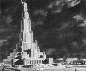 Рис. 27. Макет и главный фасад Дворца.