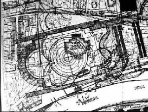 Рис. 28. Генплан застройки с контуром снесенного Храма Христа Спасителя и фасад с контуром скульптуры Ленина.