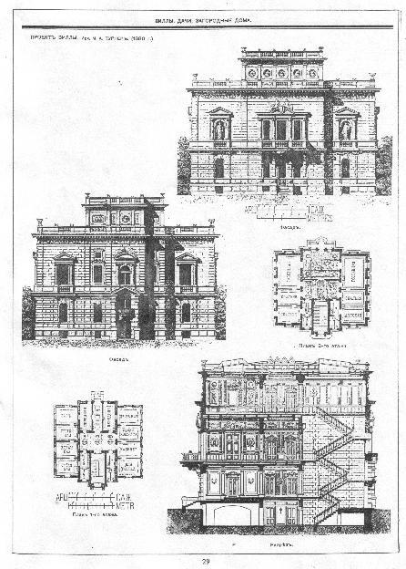 Рис. 35. Страница журнала «Зодчий» - «Проект виллы. Архитектор А.М. Турнеръ (1880 г.).